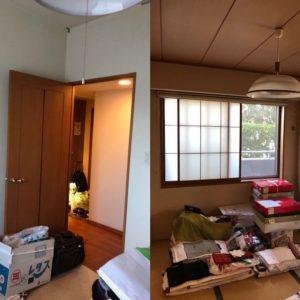 洋室、和室は壁紙も劣化し、古ぼけた印象